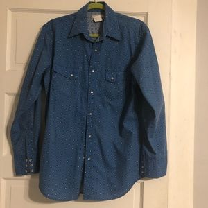 Vintage Wrangler Wrancher Blue Snap-Button Shirt